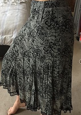 Femme Ruffle Lace Black And Grey Flowery Maxi Skirt 10-12