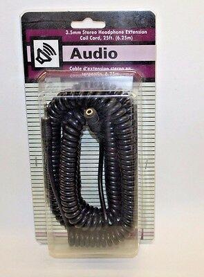 3.5mm STEREO Headphone Extension Coil Cord 25 ft 6.25m