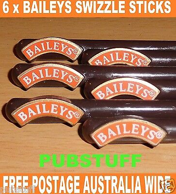 BAILEYS IRISH CREAM ~ 6 x SWIZZLE STICKS ~ FREE POST IN AUSTRALIA ~ $5 WORLDWIDE