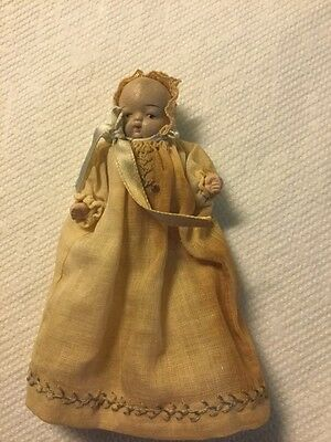 Vintage Bisque Baby Doll, Handmade Embroidered Outfit, Occupied Japan