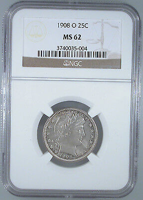 1908-O Barber Quarter MS-62 NGC Certified.