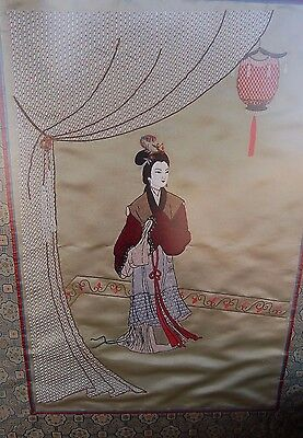 "Chinese 47"" Embroidery Geisha Figure On Silk Lots Of Details"