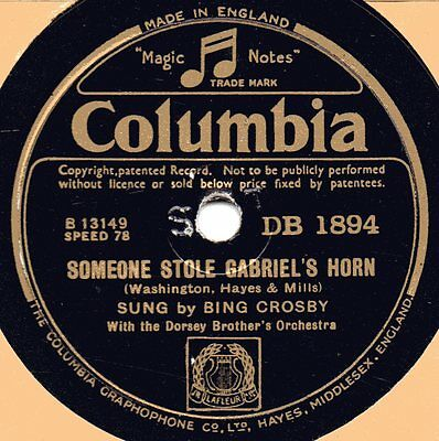 "78er Jazz Vocal Bing Crosby & Dorsey Brothers ""Someone Stole Gabriel's Horn"""