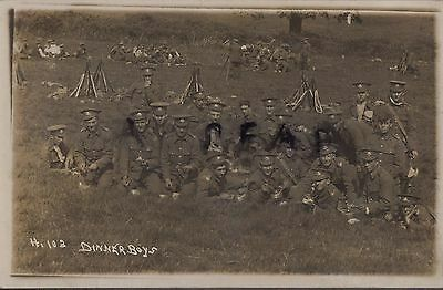 WW1 Soldier Group 4th Battalion Cheshire Regiment resting in field on manoeuvres