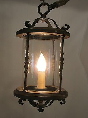 Vintage Hanging Light Fixture Brass Early American Lantern Style Works! LQQK!