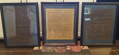 Framed Copies of the Declaration of Independence, Bill of Rights, and Preamble