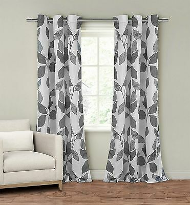 """Set of Two (2) Window Curtain Panels: 110"""" x 84"""", Grommets, White with Gray Leaf"""
