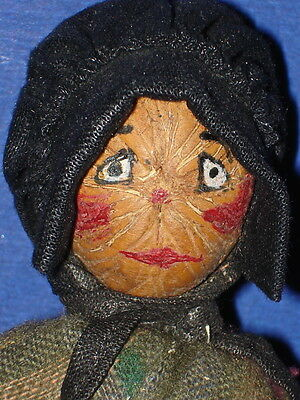 Painted Face Nut Head Doll on Wood Body The Ozarks Folk Art Kimport Tag 1950s-on