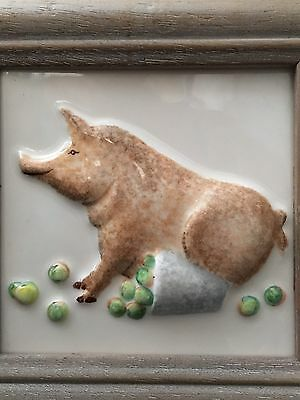 A Marlborough Majolica Hand Painted Pig & Apples Ceramic Picture Framed