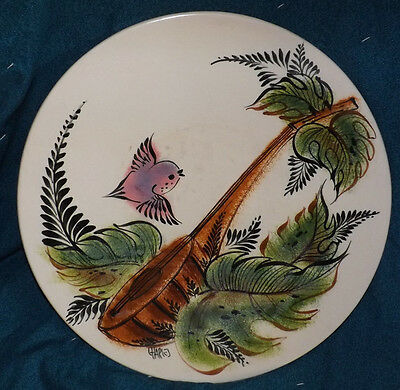 vtg/antique hand painted signed Charles footed platter/charger
