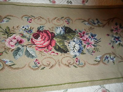 Antique Beige Floral Needlepoint Tapestry Piano Bch Seat Cover/ Runner Doily  -