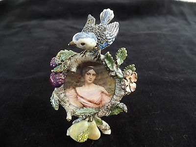 Jay Strongwater Mini Frame, Blue Bird With Flowers And Fruit