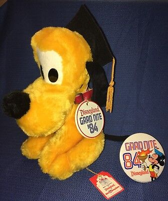 Vintage Disneyland Pluto 1984 Grad Nite Night 84 Plush & Button Disney Souvenir