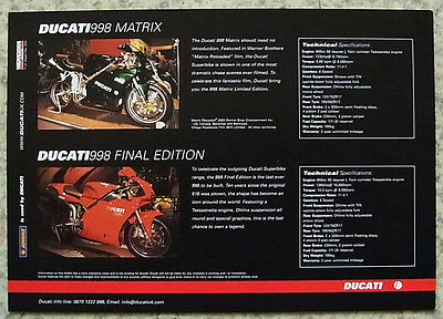 DUCATI 998 MATRIX & 998 FINAL EDITION Motorcycles Sales Leaflet 2004