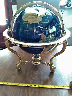 """SEMIPRECIOUS  stones  WORLD GLOBE WITH COMPASS TABLETOP BRASS STAND 19"""" TALL"""