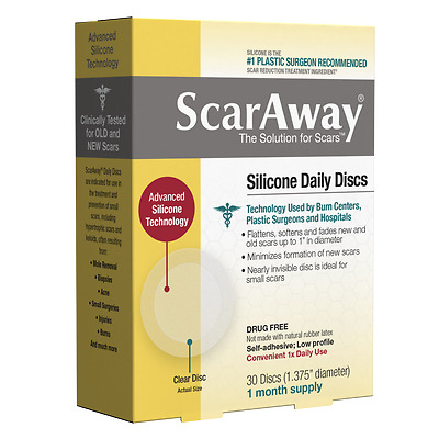 ScarAway Silicone Daily Discs Scar Sheets Treatment Acne/Surgery Scars NEW