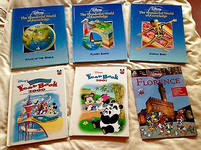 6 DISNEY books ~Wonderful World of Knowledge, Year Books, Guide to the Cities