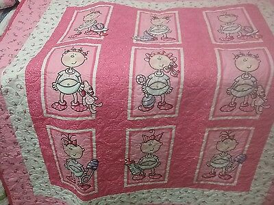 Very cute 'It's a Girl'  baby quilt.  Crib/Toddler Bed size. 51 x 57 inches