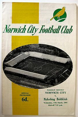 Norwich City v Nykobing Boldclub (Denmark) 1964/5 Floodlight Friendly Programme.
