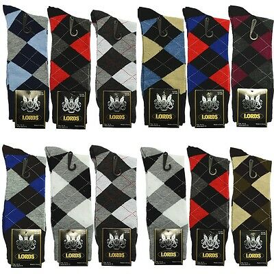 Lot 3-12 Pairs ARGYLE Mens Dress Socks Fashion Multi Color Cotton 10-13 Lords