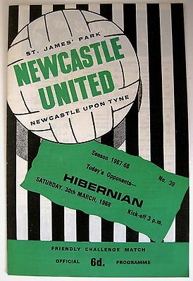 Newcastle United v Hibernian 1967/8 Friendly Match programme.