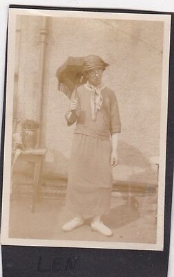 Unusual Old Photo Man Dressed As Woman Skirt Parasol 1920S Nb2