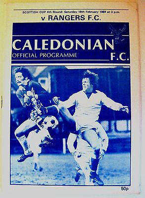 Caledonian FC. v Rangers 1983/4 Scottish Cup R4. programme.