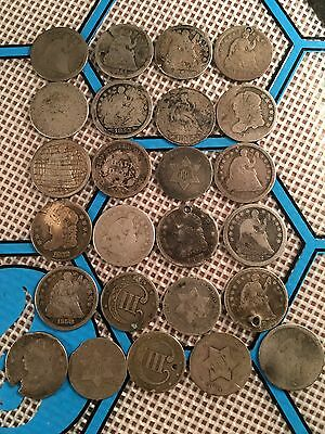 Seated Liberty Half Dimes, Three Cent Silvers, Capped Bust Half Dime Lot Of 25