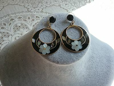 Vintage Alpaca Mexico Pierced Earrings With Mop & Abalone Shell Decoration.