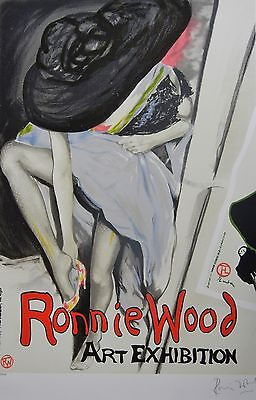 """RONNIE WOOD """" Jo with Hat """" HANDSIGNIERT ROLLING STONES RON LITHOGRAPHIE"""