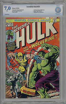 Incredible Hulk #181 CBCS 7.0 FN/VF 1st Full Appearance of Wolverine LIKE CGC