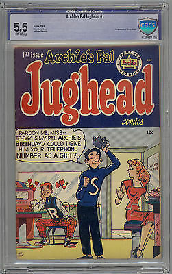 Archie's Pal Jughead # 1 CBCS 5.5 FN- OW Pages LIKE CGC 1949 1st Moose Mason