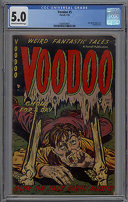 Voodoo # 5 CGC 5.0 VG/FN 1953 PCH PRE CODE HORROR Hanging Panel NAZI Story