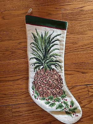 Vintage Pineapple Hawaiian Christmas Stocking Holly