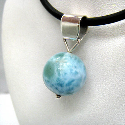 """**BEAUTIFUL """"Bead"""" LARIMAR 925 Sterling SILVER PENDANT NECKLACE 16mm***"""