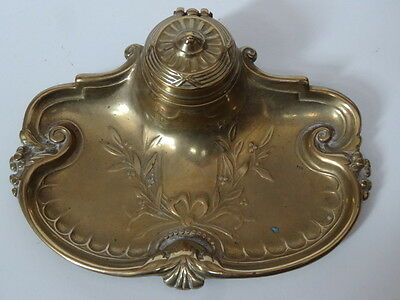 Antique Brass Art Nouveau Inkwell Stand