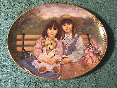 """""""Sisters Share Springtime Hopes"""" by Chantal Poulin-Bradford Exchange Oval Plate"""
