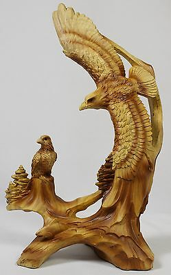 AMERICAN BALD EAGLE WOOD LIKE CARVING Figurine Statue Faux NEW Wildlife Bird Fly