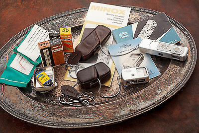 MINOX Subminiature IIIS Camera Outfit: Camera, Meter, Film, manuals, cases