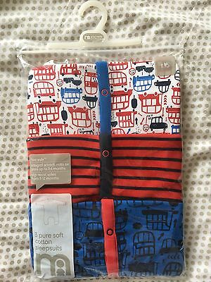 Mothercare Set Of 3 Boys Sleepsuits Baby Grows 0-3 Months Integral Mitts BNWT