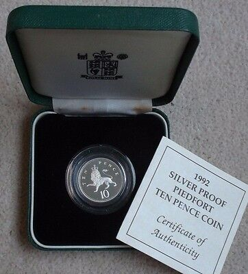 1992 Silver Proof Piedfort 10P Coin + Box & Certificate. Royal Mint Ten Pence.