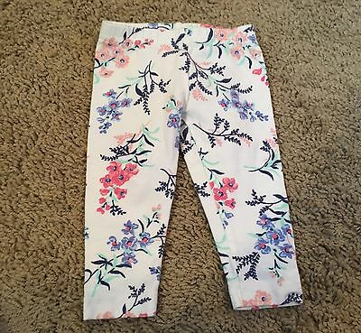 NWOT Carter's baby girl size 3 months white & blue floral cotton leggings pants