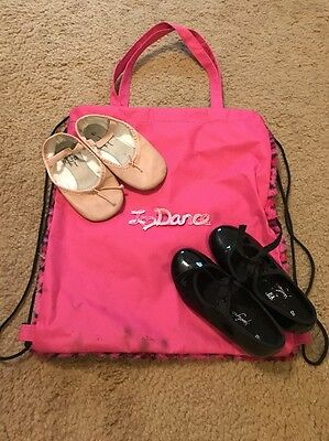 Lot Of 2 Girls Tap & Ballet Slippers 8.5 & Decorative Dance Bag