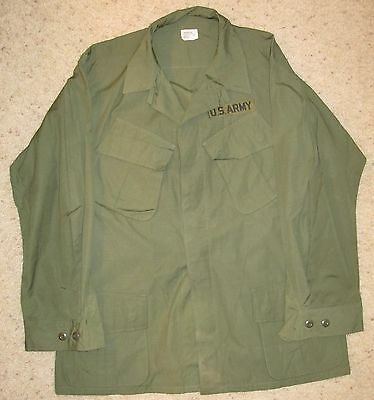 1968 Dated VIETNAM TYPE 3 OG 107 POPLIN JUNGLE JACKET SHIRT - Large Regular