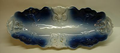 Antique Blue White And Gold 'flow Blue' Oval Tray