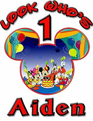 Personalize Custom Mickey Mouse 1st Birthday T Shirt Party Gift Baby Name Face/B