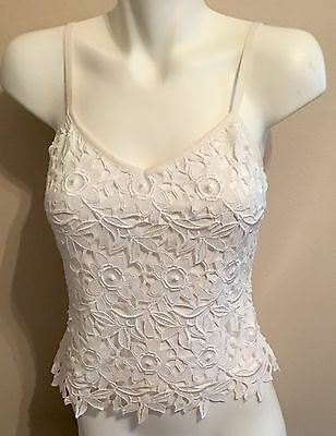 Vintage Flora Nikrooz white camisole lace 1980s floral openwork siz S worn once