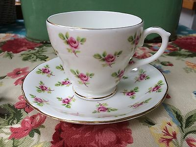 Vintage Duchess Ditsy Pink Rosebuds China Coffee Cup & Saucer