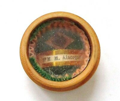 Vintage Saint Margaret Mary Alacoque First Class Relic Screw Type Wooden Theca