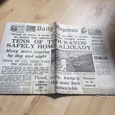 Replica Copy Of The Daily Express Newspaper Friday May 31 1940
